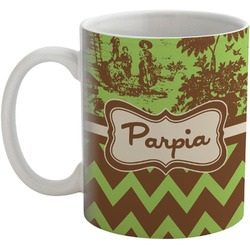 Green & Brown Toile & Chevron Coffee Mug (Personalized)