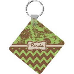 Green & Brown Toile & Chevron Diamond Key Chain (Personalized)