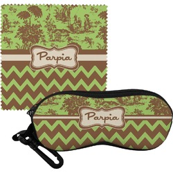 Green & Brown Toile & Chevron Eyeglass Case & Cloth (Personalized)