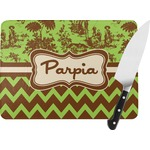 Green & Brown Toile & Chevron Rectangular Glass Cutting Board (Personalized)