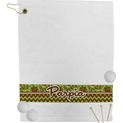 Green & Brown Toile & Chevron Golf Towel (Personalized)