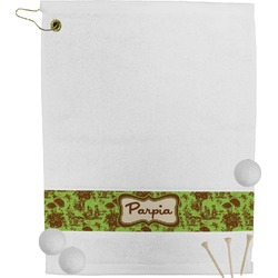 Green & Brown Toile & Chevron Golf Towel (Personalized)
