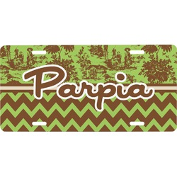 Green & Brown Toile & Chevron Front License Plate (Personalized)