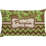 Green & Brown Toile & Chevron Pillow Case (Personalized)