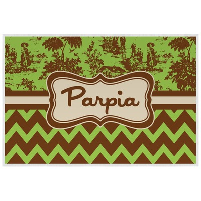 Green & Brown Toile & Chevron Laminated Placemat w/ Name or Text