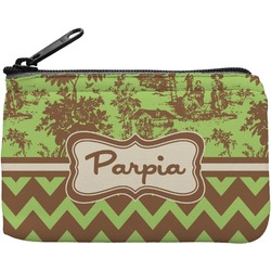 Green & Brown Toile & Chevron Rectangular Coin Purse (Personalized)