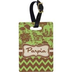 Green & Brown Toile & Chevron Rectangular Luggage Tag (Personalized)