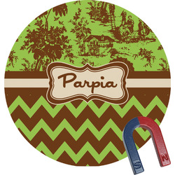 Green & Brown Toile & Chevron Round Magnet (Personalized)