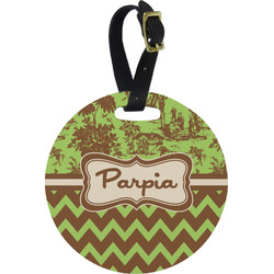 Green & Brown Toile & Chevron Round Luggage Tag (Personalized)