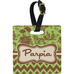 Green & Brown Toile & Chevron Square Luggage Tag (Personalized)