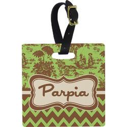 Green & Brown Toile & Chevron Square Luggage Tag (Personalized)