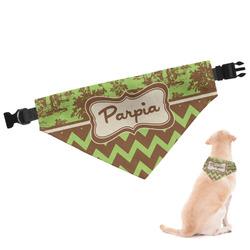 Green & Brown Toile & Chevron Dog Bandana (Personalized)