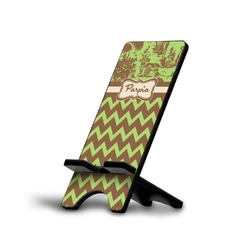 Green & Brown Toile & Chevron Phone Stand (Personalized)