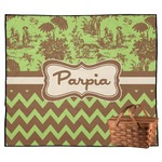 Green & Brown Toile & Chevron Outdoor Picnic Blanket (Personalized)