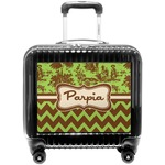 Green & Brown Toile & Chevron Pilot / Flight Suitcase (Personalized)