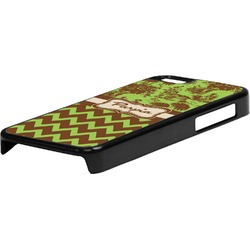 Green & Brown Toile & Chevron Plastic iPhone 5C Phone Case (Personalized)