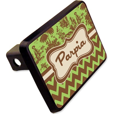 """Green & Brown Toile & Chevron Rectangular Trailer Hitch Cover - 2"""" (Personalized)"""
