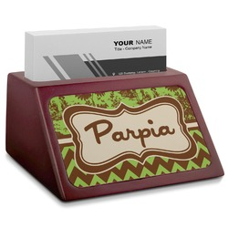 Green & Brown Toile & Chevron Red Mahogany Business Card Holder (Personalized)