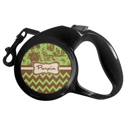 Green & Brown Toile & Chevron Retractable Dog Leash (Personalized)