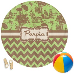 Green & Brown Toile & Chevron Round Beach Towel (Personalized)