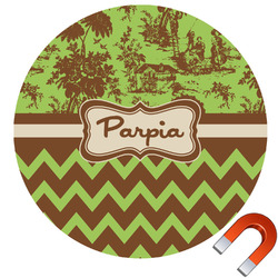 Green & Brown Toile & Chevron Round Car Magnet (Personalized)