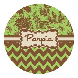 Green & Brown Toile & Chevron Round Decal (Personalized)
