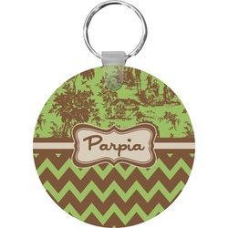 Green & Brown Toile & Chevron Round Keychain (Personalized)