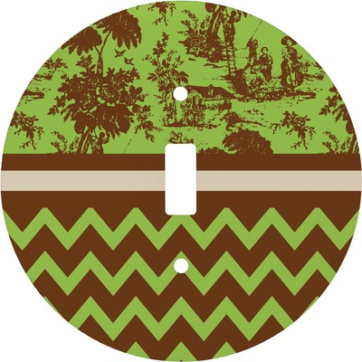 Green & Brown Toile & Chevron Round Light Switch Cover (Personalized)