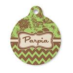 Green & Brown Toile & Chevron Round Pet Tag (Personalized)