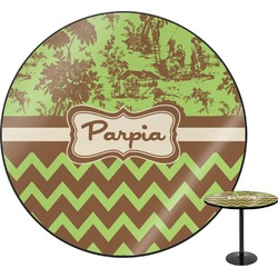 Green & Brown Toile & Chevron Round Table (Personalized)