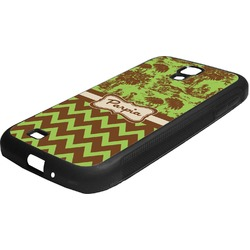 Green & Brown Toile & Chevron Rubber Samsung Galaxy 4 Phone Case (Personalized)