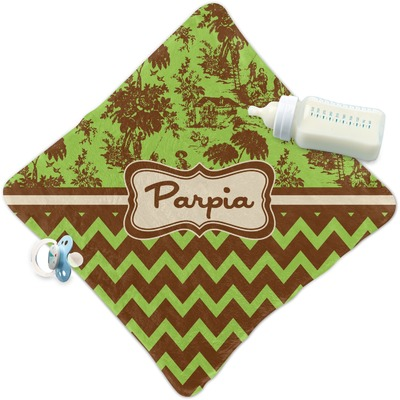 Green & Brown Toile & Chevron Security Blanket (Personalized)
