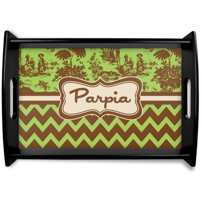 Green & Brown Toile & Chevron Wooden Trays (Personalized)