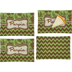 Green & Brown Toile & Chevron Set of 4 Glass Rectangular Appetizer / Dessert Plate (Personalized)