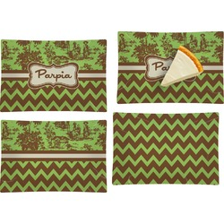 Green & Brown Toile & Chevron Set of 4 Rectangular Appetizer / Dessert Plates (Personalized)