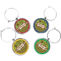 Green & Brown Toile & Chevron Wine Charms (Set of 4) (Personalized)