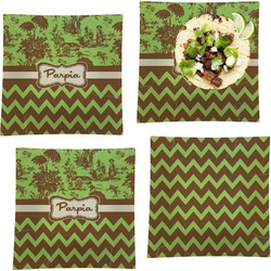 Green & Brown Toile & Chevron Set of 4 - Square Dinner Plates (Personalized)
