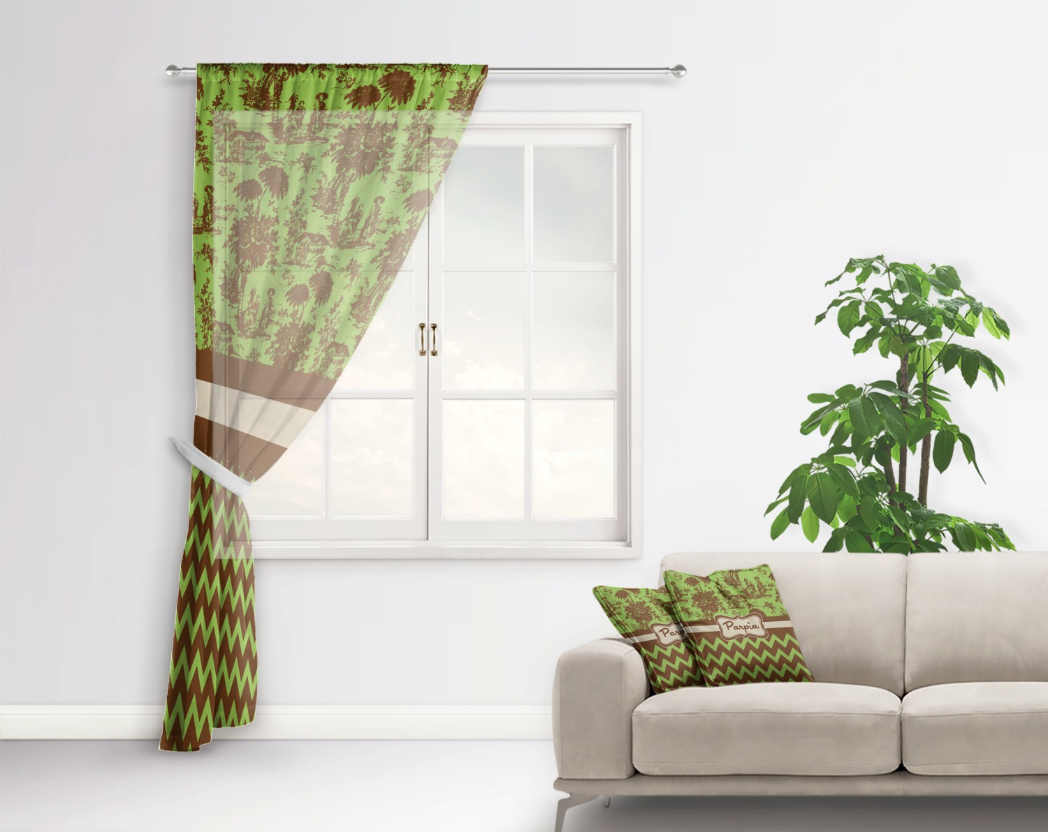 Green Brown Toile Chevron Sheer Curtains Personalized Youcustomizeit