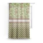 Green & Brown Toile & Chevron Sheer Curtains (Personalized)