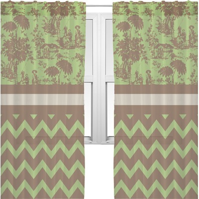 Green & Brown Toile & Chevron Sheer Curtains (Personalized) - RNK ...