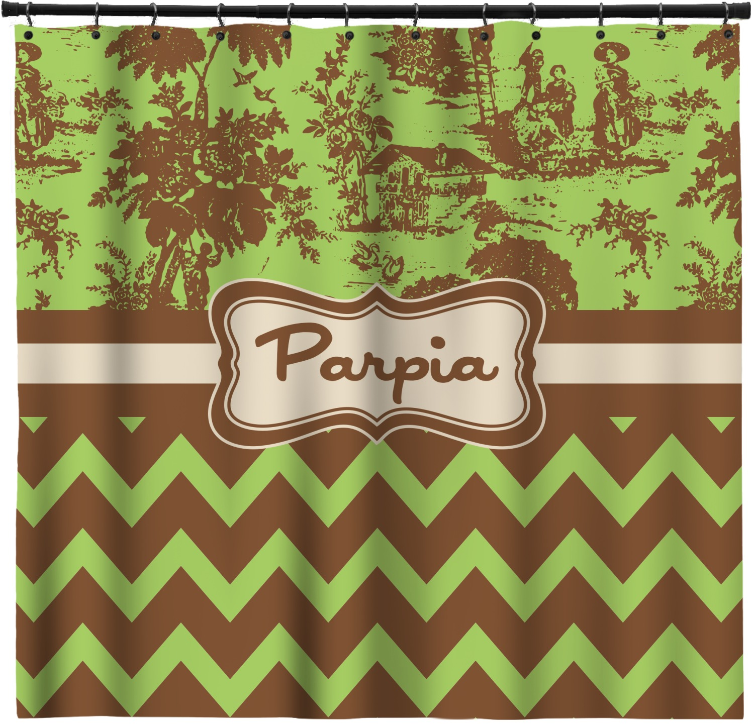 Green Amp Brown Toile Amp Chevron Shower Curtain
