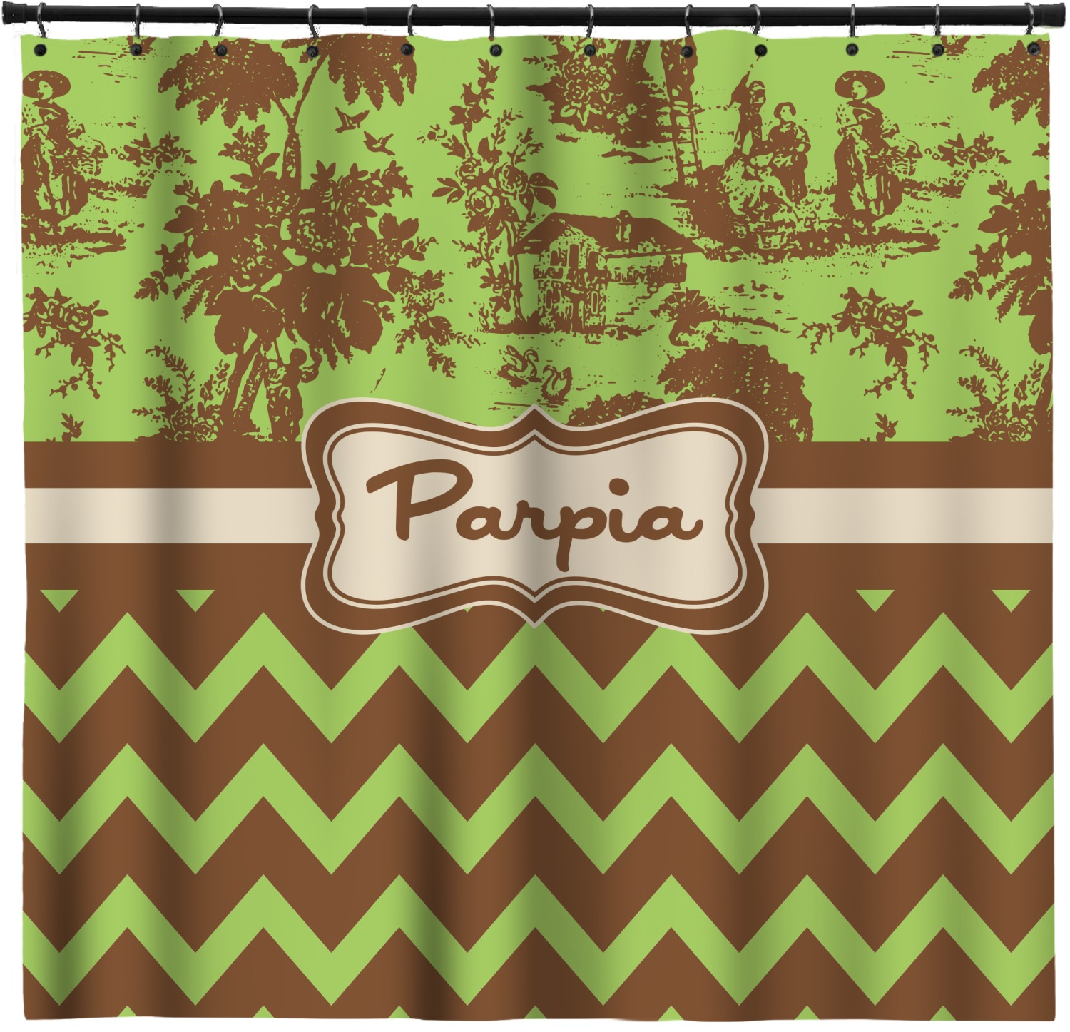 Green Brown Toile Chevron Extra Long Shower Curtain