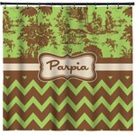 Green & Brown Toile & Chevron Shower Curtain (Personalized)