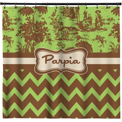 Green Amp Brown Toile Amp Chevron Shower Curtain Personalized