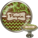 Green & Brown Toile & Chevron Cabinet Knob (Silver) (Personalized)