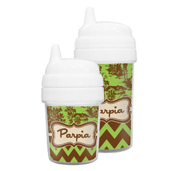 Green & Brown Toile & Chevron Sippy Cup (Personalized)