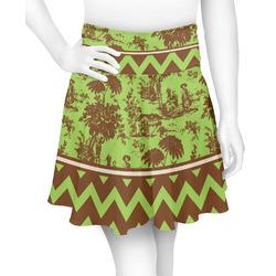 Green & Brown Toile & Chevron Skater Skirt (Personalized)