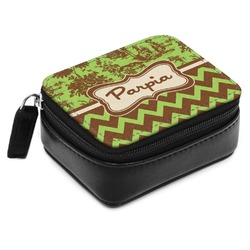Green & Brown Toile & Chevron Small Leatherette Travel Pill Case (Personalized)
