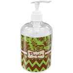 Green & Brown Toile & Chevron Soap / Lotion Dispenser (Personalized)