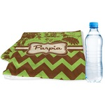Green & Brown Toile & Chevron Sports & Fitness Towel (Personalized)